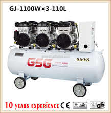 Outstanding food grade GJ-U11003 110L silent industrial air compressor with three air head solenoid valve