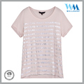 Custom design dry-fit o-neck silk print rayon pink T-shirt