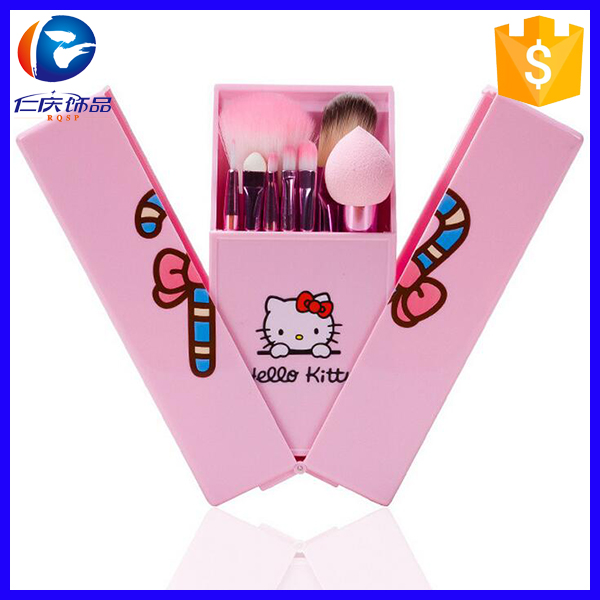 Wholesale Perfect Cosmetics makeup Brush Sets Cute Design hello kitty 8Pcs Makeup Brushes Set