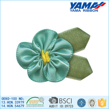2015 new nice green satin ribbon flower decoration for stage