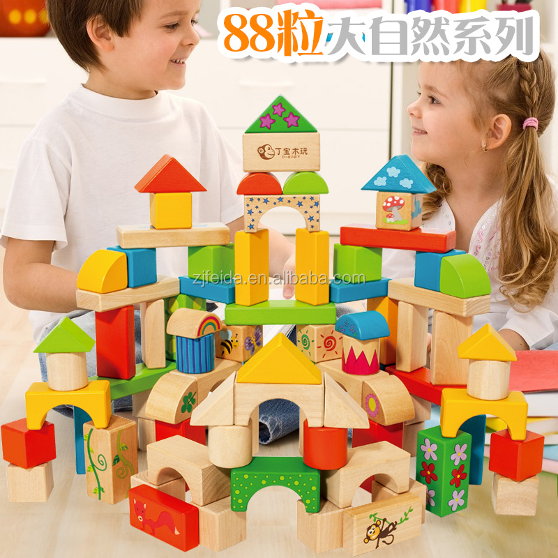 Wholesale 2016 newest design wooden building blocks,top quality colorful wooden blocks,popular educational wooden blocks
