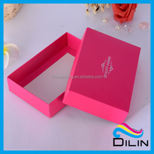 rose color lid and bottom folded underware paper box with silver logo