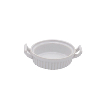 Single heat-resistant Chinese vertical stripes small white dessert ramekin with two handles