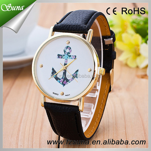 Cheap Wrist Women Leather Band Vintage Anchor Face Watch