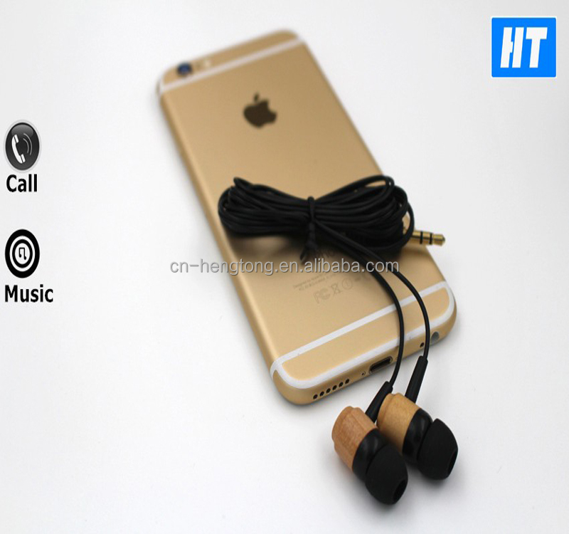 Wood Corded In-ear Noise Cancelling Earphones with Microphone