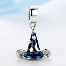 Silver Bead Charms Navy Glaze Cute Magic Hat Pendant Beads Fit Bracelets & Bangles DIY Jewelry