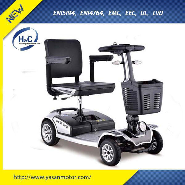 High Tech folding 4 wheel electric wheelchair with basket