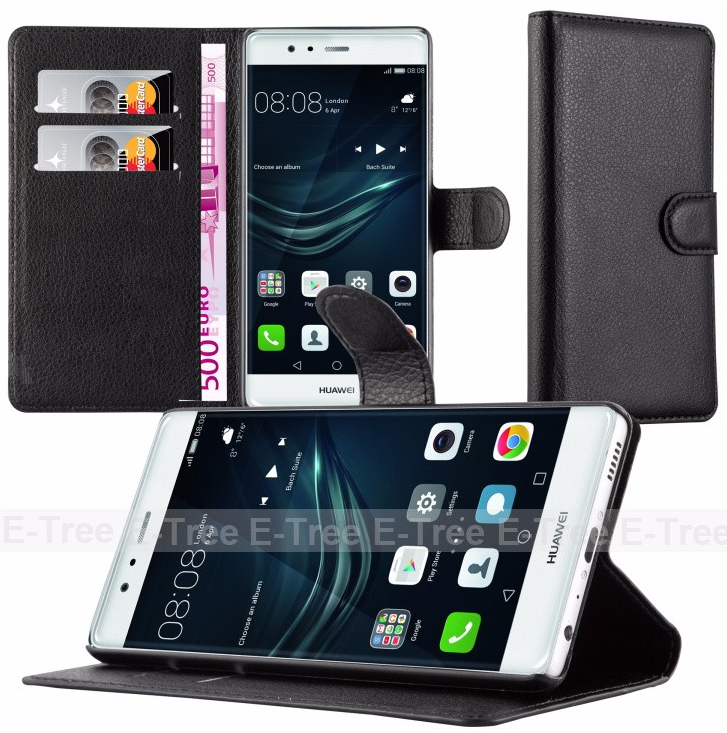 Warmly welcome OEM / ODM lichee pattern wallet pc + pu flip leather case cover for huawei p9 lite