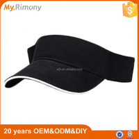 100% Polyester Quick Dry Material Black Visor for Golf Running Or Other Sports Activities