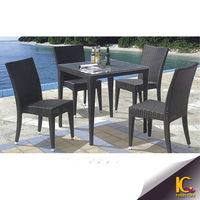 Popular space saving hot sale rattan table and chair furniture outdoor dining set