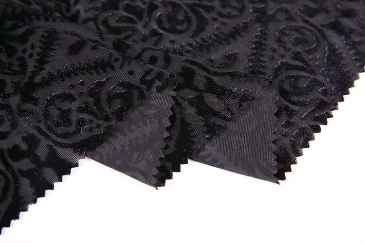 High quality cheap wholesale all black yarn dyed burnout stretch velvet women dress fabric
