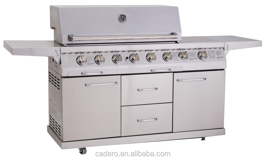 CB6-SBG001-A Full stainless steel gas grill with side burner and infrared back burner (A type)