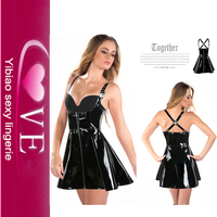 Plus Size Sexy Leather Pvc Club Dress Black Vinyl Sexy Girl Lingerie