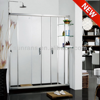 Hot selling 6MM tempered glass folding shower screen with shelf