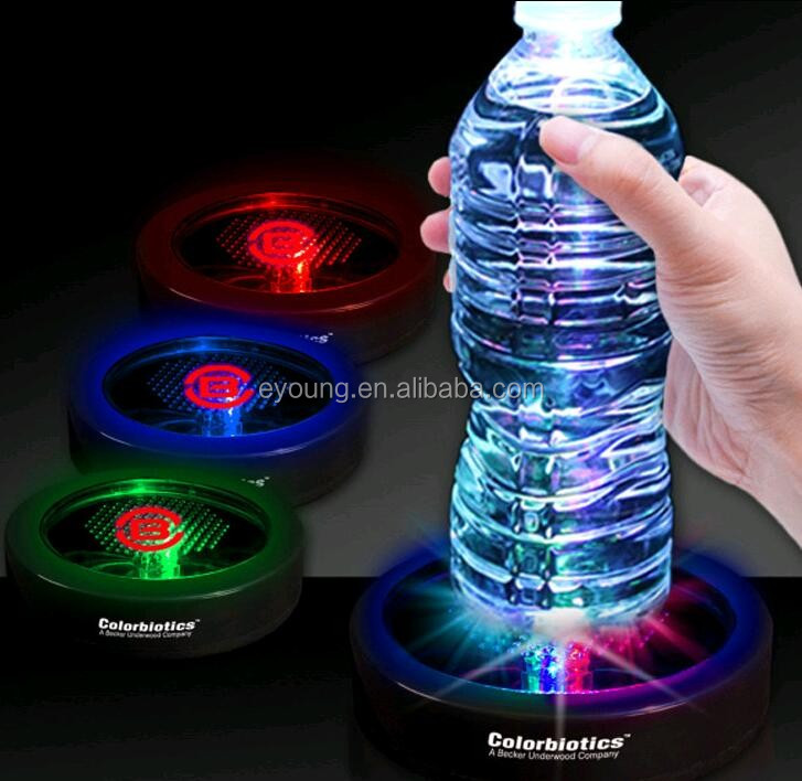Customized Round Glass Coaster LED Light Plastic Beer Glass Coaster