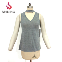 95%POLY 5%SP 220GSM gray halter crop tops tank tops summer mature woman lady wear