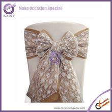 k0892-4 wholesale cheap new chair tie backs lace and burlap wedding chair covers and sashes for sale