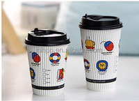 Various of colour ripple wall disposable paper coffee cup with clear lids