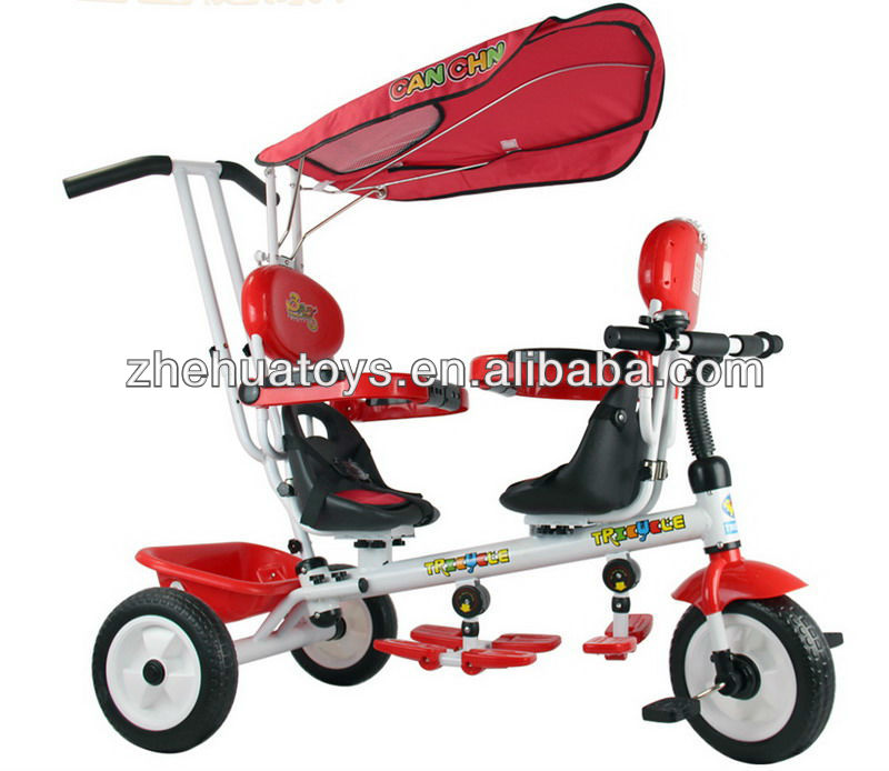 2013 new fashion double seat baby tricycle with umbrella and CE approval