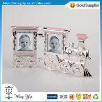 Tailor made hot sales Pink Train Metal Photo Frame for Newborn baby gift