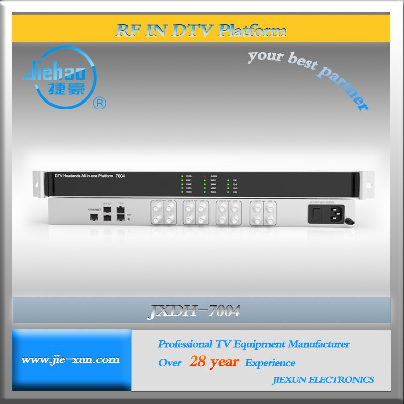 jxdh-7004U/SB Small satellite TV station,Small TV transmitter dvb-s/s2 to 128 spts IP output iptv headend GE output