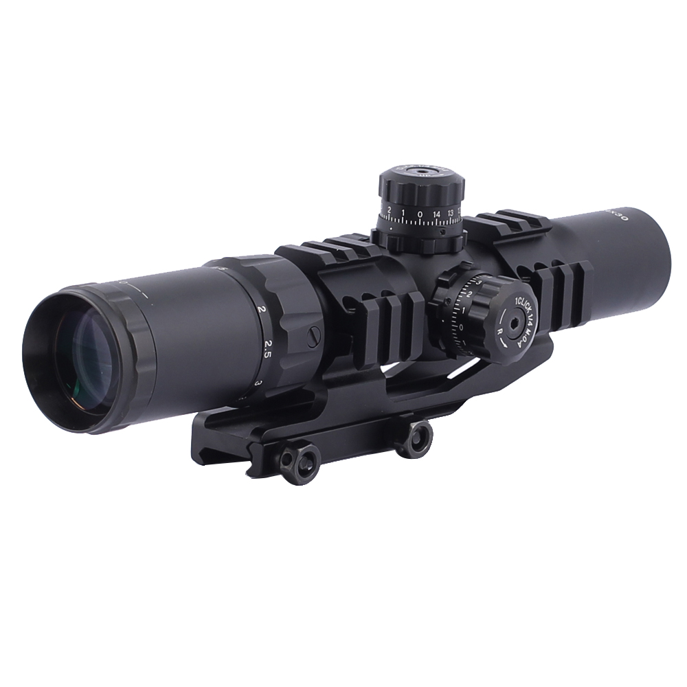 SPINA 1.5-4X30 Tactical Railed arisoft hunting Rifle Scope with Tri-Illuminated Recticle for Hunting Riflescope