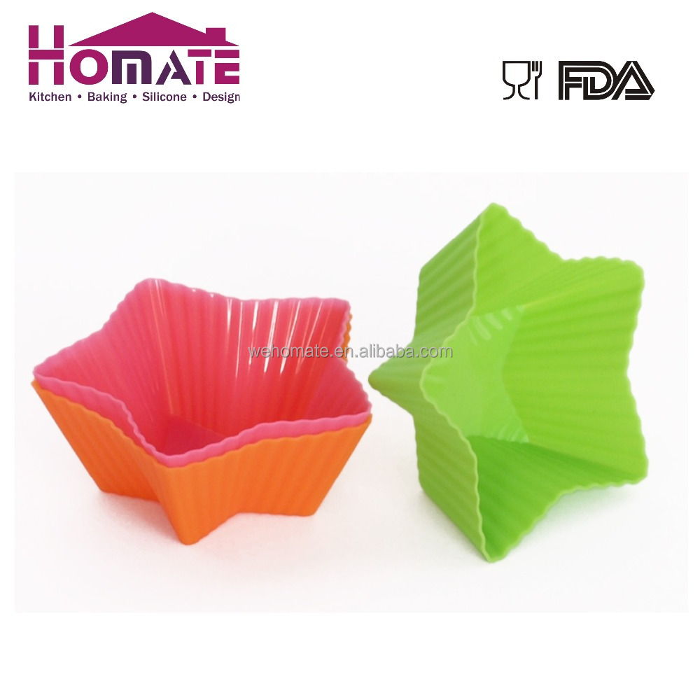 Silicone star cake cup Aroma Bakeware - Silicone Cupcake pudding jelly Star Shaped Mold