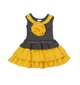Grey Triple Ruffles Baby Girl's Dress with Flower on top