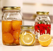 Glass Mason Jar Food Canning Packaging Glass Jar for Jam Honey Juice Pickle with Metal Lid