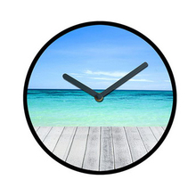 Customized LOGO natural wood wall clock for promotional gifts with beautiful sea scenes pictures