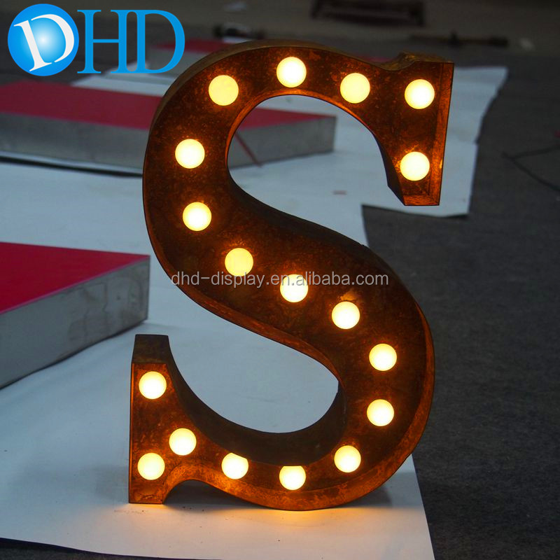Cheap vintage rust metal channel letters