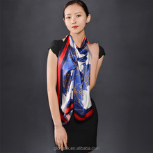 2017 new style custom uniform silk square scarf