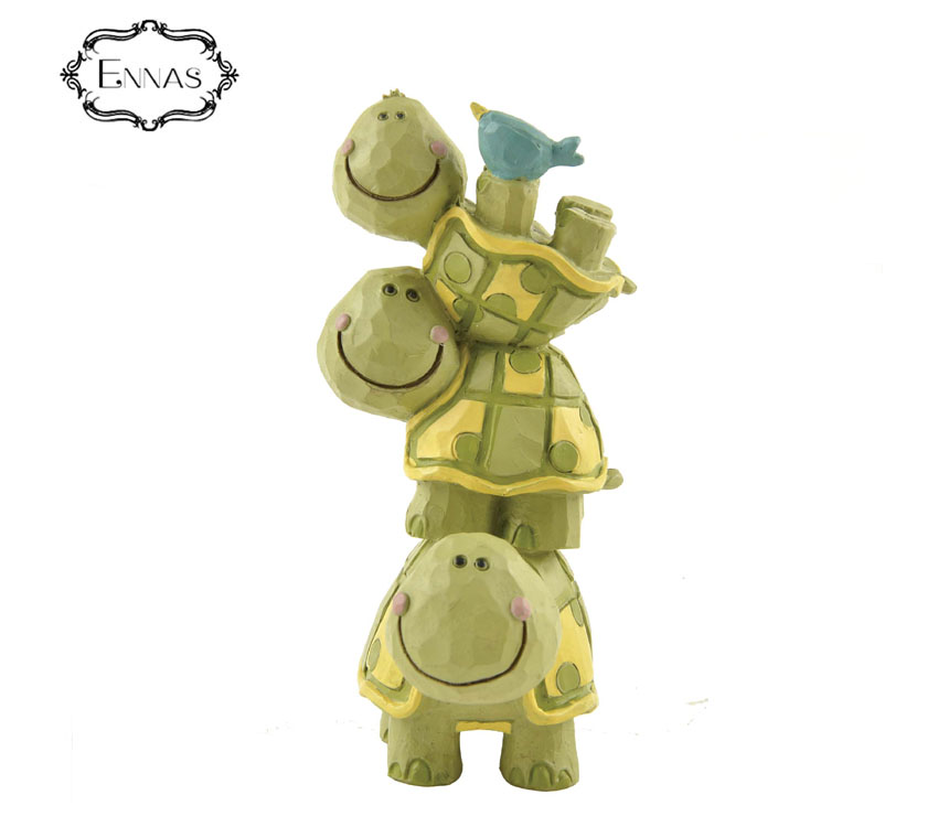 Decoration resin three tortoise stack superimposed statue