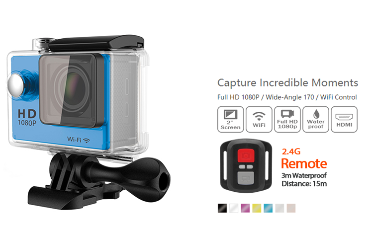 SDV-S9R High Guality Products Waterproof 2.0'' Inch Full HD 1080p WIFI Remote Control Sport Action Camera