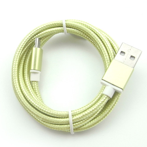 Newest 1M Aluminum Plated Metal Head USB Braided Wire Data Sync Charger Cable Metal tip Fabric braided cord