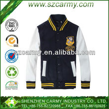 Navy Blue & White Spring & Autumn College Stylish Stand Collar 100% Cotton Varsity Student Baseball Jacket