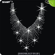 crystal strass neckline rhinestone hot fix transfer motifs