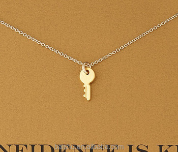Collares Vintage Key Necklace Women Pendant Clavicle Chain Confidence Is Key Statement Choker Necklaces