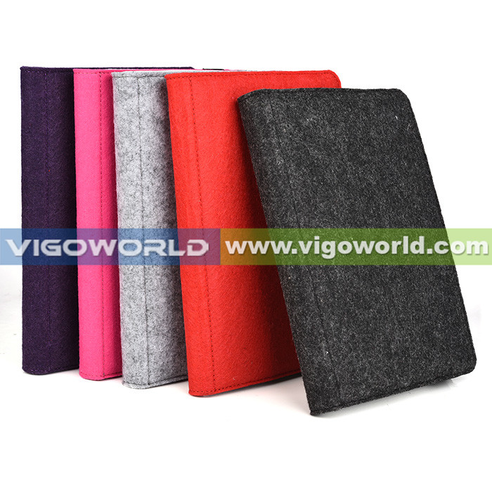 Vigoworld patented colorful felt material tablet case for 7 8 inch tablet universal