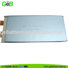 8773160 3.7V 10Ah lithium polymer battery audio and video devices, digital cameras, camcorders, portable DVD, MD, CD players