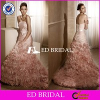 CE1008 Unique 2015 Sweetheart Pink Tulle Mermaid Tail Wedding Dress Bridal Gown
