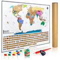 Scratch off World Map Poster INCLUDES Complete Accessories Set and All Country Flags Travel Tracker Deluxe Edition Traveler Gift