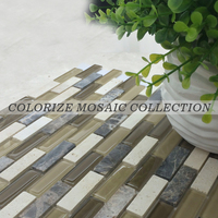 Hot sale glass marble strip mosaic tile (GY051)