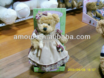 lovely soft princess bear stuffed dressed mini ted hot selling wedding bear 2013 christmas gifts for girls