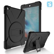 For Ipad tablet rugged heavy duty silicone case kickstand tpu pc hybrid combo case for Ipad air 2 cover case