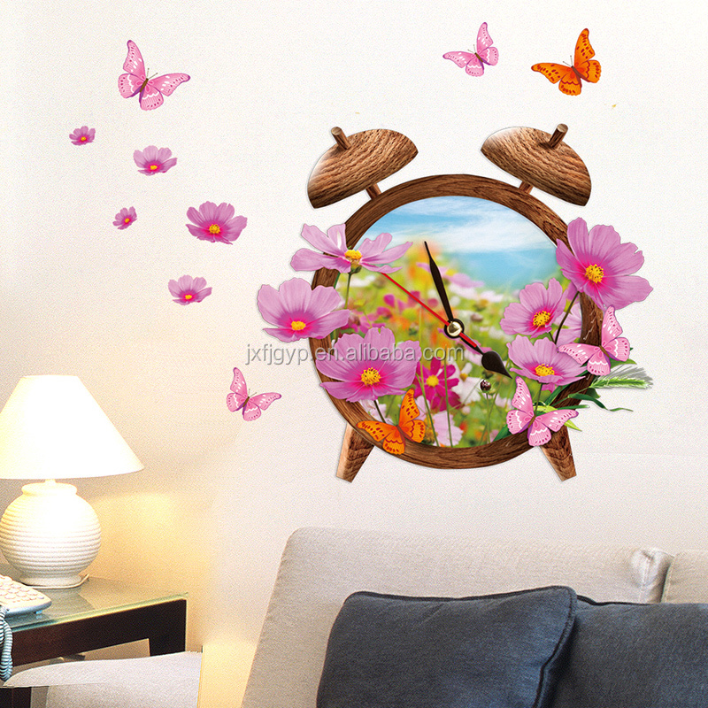 Custom DIY bedside ornament 3D wall sticker clock with flower and butterfly