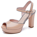 Pink genuine leather upper topline binding ornament open toe 6cm high heel fashion special women's single shoes made in china