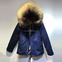 2016 navy winter fur parka,natural short style fur jacket for women &mens wear, faux rabbit fur lined factory selling