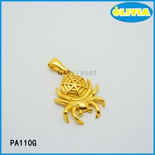 Olivia gold pendant designs men with 18k gold the spider shape animal pendant charm for cool style