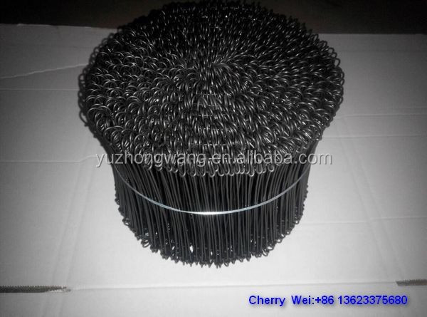 Black soft annealed double loop tie wire/binding wire BWG16, 6''length ( Anping factory )